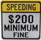 speeding $200 minimum fine